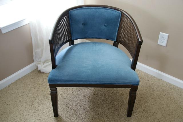 BEFORE - Black and white reupholstered chair.  Painted with Annie Sloan Graphite chalk paint.  https://canarystreetcrafts.com/