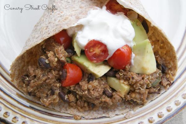 Tacos with black beans and quinoa!  -canarystreetcrafts.com