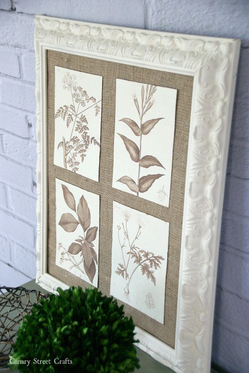 DIY botanical wall art. A vintage frame, burlap and botanical prints. Easy and inexpensive!