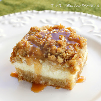 Caramel Apple Cheesecake Bars from {The Girl Who Ate Everything}