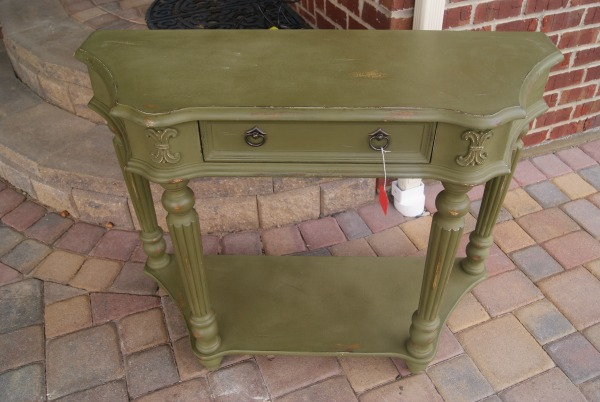 """BEFORE pic. Console table painted with Annie Sloan """"graphite"""" and hand painted graphic.  {Canary Street Crafts}"""