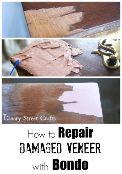 How to easily fix damaged veneer on furniture using Bondo.