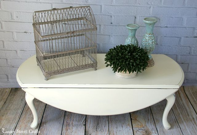 "Drop leaf coffee table painted with Annie Sloan chalk paint ""Old White""."