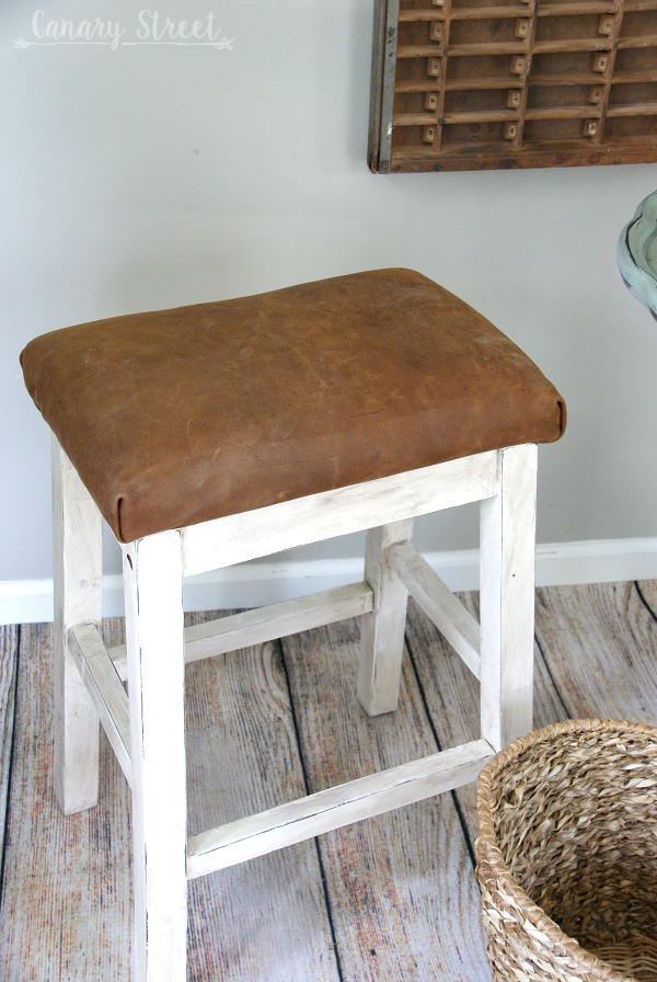 How to give an old stool a farmhouse makeover. http://canarystreetcrafts.com/