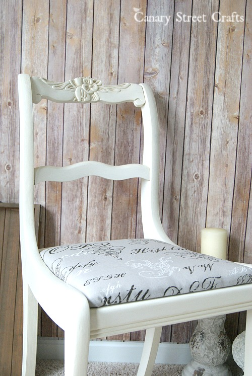 "Upcycled chair painted with Annie Sloan ""Old White"" chalk paint.  {Canary Street Crafts}"