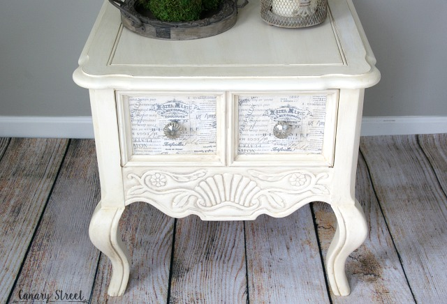 French Provincial Side Table. Painted with Annie Sloan Old White chalk paint and decoupaged fabric drawer fronts. Full tutorial plus dozens more furniture makeovers and painting tips https://canarystreetcrafts.com/