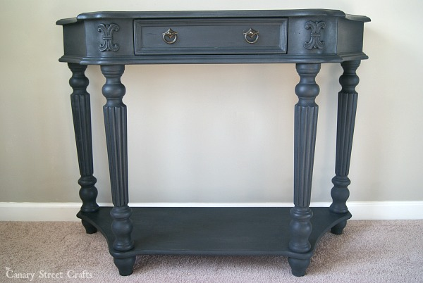 """Console table painted with Annie Sloan """"graphite"""" and hand painted graphic.  {Canary Street Crafts}"""