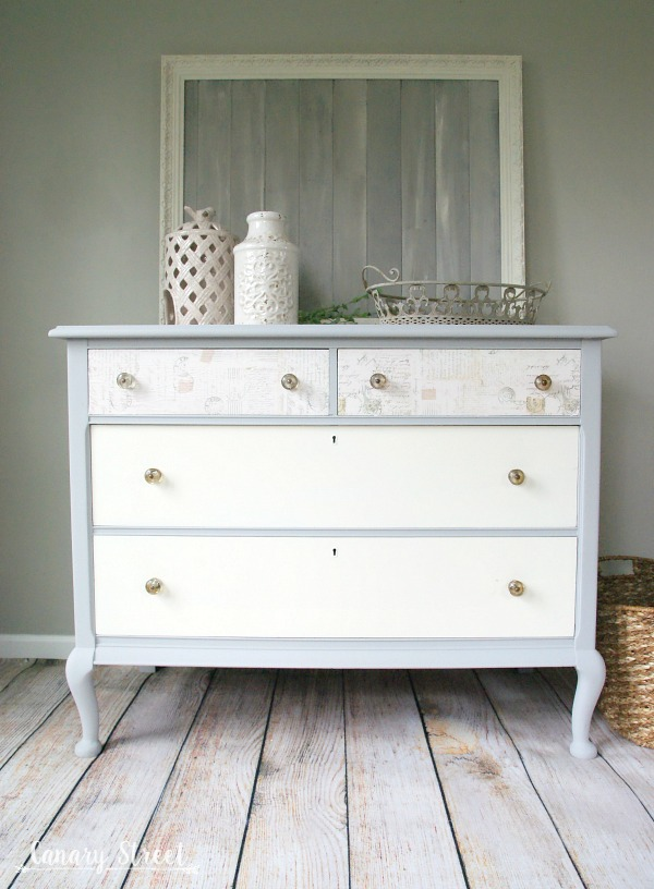 Marvelous Pretty Grey And White Dresser Makeover. The Top Drawers Are Decoupaged.  Full Tutorial Plus