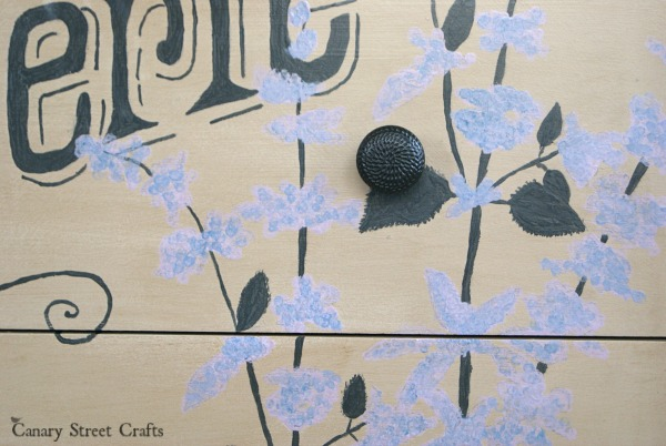 Dresser painted with Annie Sloan chalk paint.  Detailed instructions for painting graphics on furniture in the blog post.  {Canary Street Crafts}