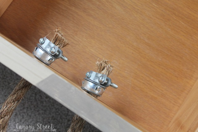 A simple trick to attach rope handles to furniture. www.canarystreetcrafts.com