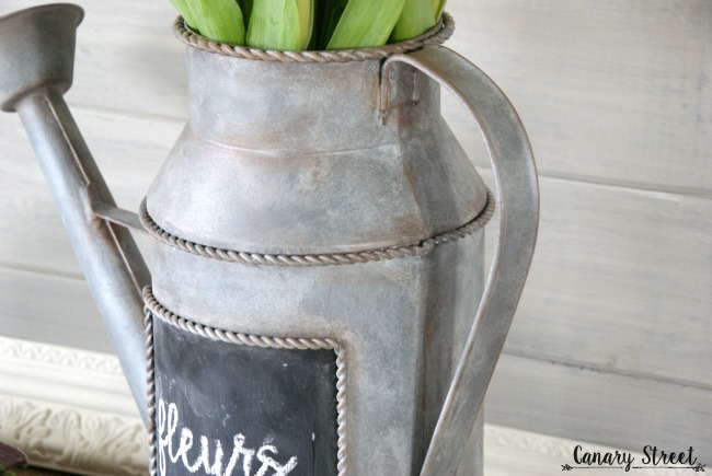 How to easily create a faux galvanized metal finish with paint. https://canarystreetcrafts.com/