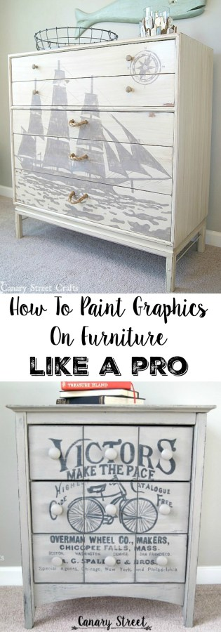 Step by step instructions for painting gorgeous graphics on furniture. This technique can also be used to paint on walls or to make unique signs. https://canarystreetcrafts.com/