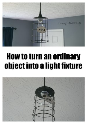 Use an ordinary object to create a custom pendant light in your home.  Easy and inexpensive! -canarystreetcrafts.com