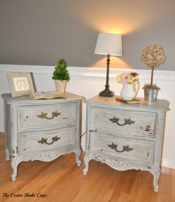 Milk Paint French Nightstands from The Cedar Shake Cape