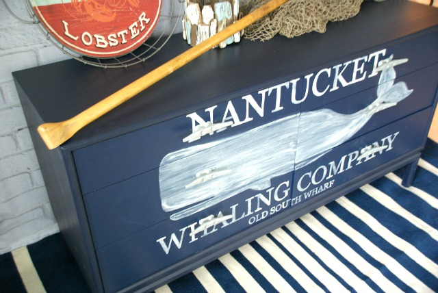 Nautical dresser with a hand painted whale graphic. Link to the free graphic, plus detailed tutorial for painting graphics on furniture. canarystreetcrafts.com
