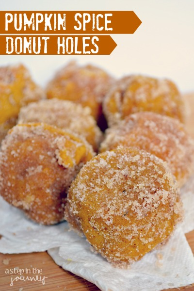 Baked pumpkin spice donut holes.  Recipe from A Step In The Journey