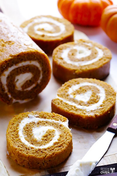 Pumpkin roll with cream cheese filling.  Recipe from Gimme Some Oven