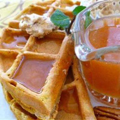 Pumpkin waffles with apple cider syrup recipe from Allrecipes.com