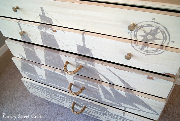 Chest of drawers hand painted with a ship silhouette {Canary Street Crafts}