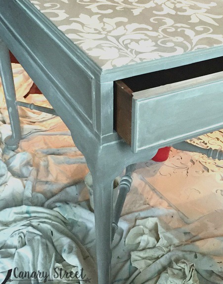 stenciled gray wash table sneak peek