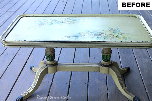 Hand painted coffee table using Annie Sloan chalk paint.  {Canary Street Crafts}