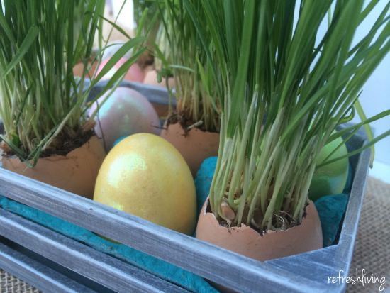 DIY Easter Egg Grass Centerpiece via Refresh Living
