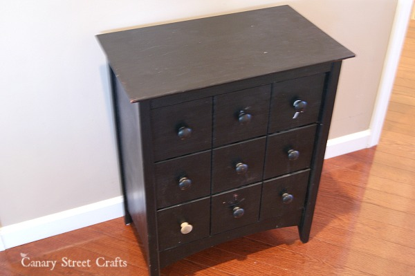 (BEFORE) 3 drawer side table painted with a vintage bicycle ad using Annie Sloan chalk paint.  {Canary Street Crafts}