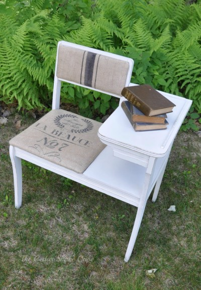 Vintage Telephone Table Makeover from The Cedar Shake Cape
