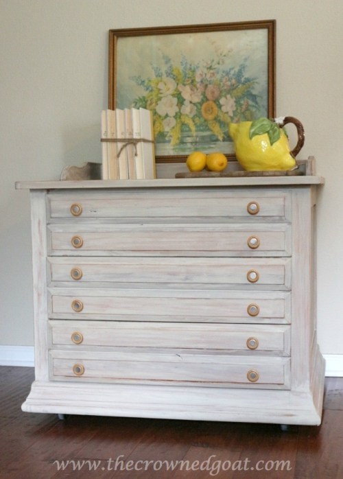 whitewashed 3 drawer nightstand {The Crowned Goat}