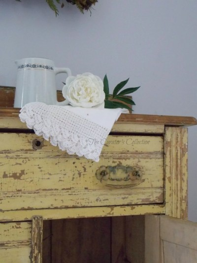 Yellow Primitive Washstand {The Curator's Collection}  Featured at Your Turn To Shine Link Party www.canarystreetcrafts.com