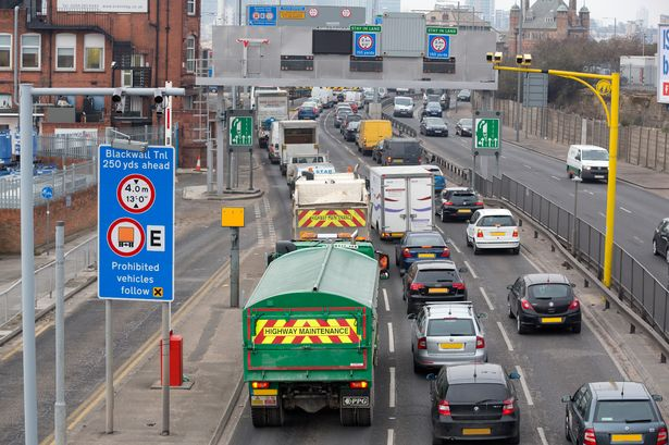 A queue of traffic on the approach to Blackwall Tunnel