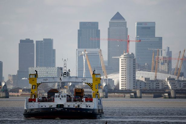 Woolwich Ferry with Canary Wharf