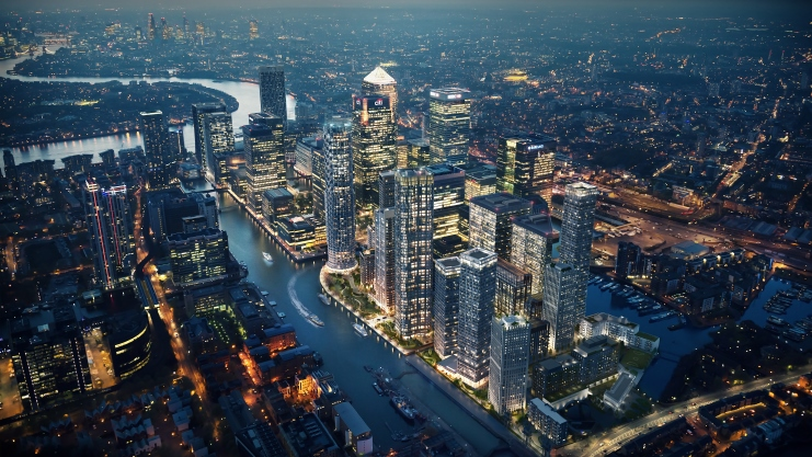 "CGI of Canary Wharf's ""New District"" (Image: Canary Wharf Group)"