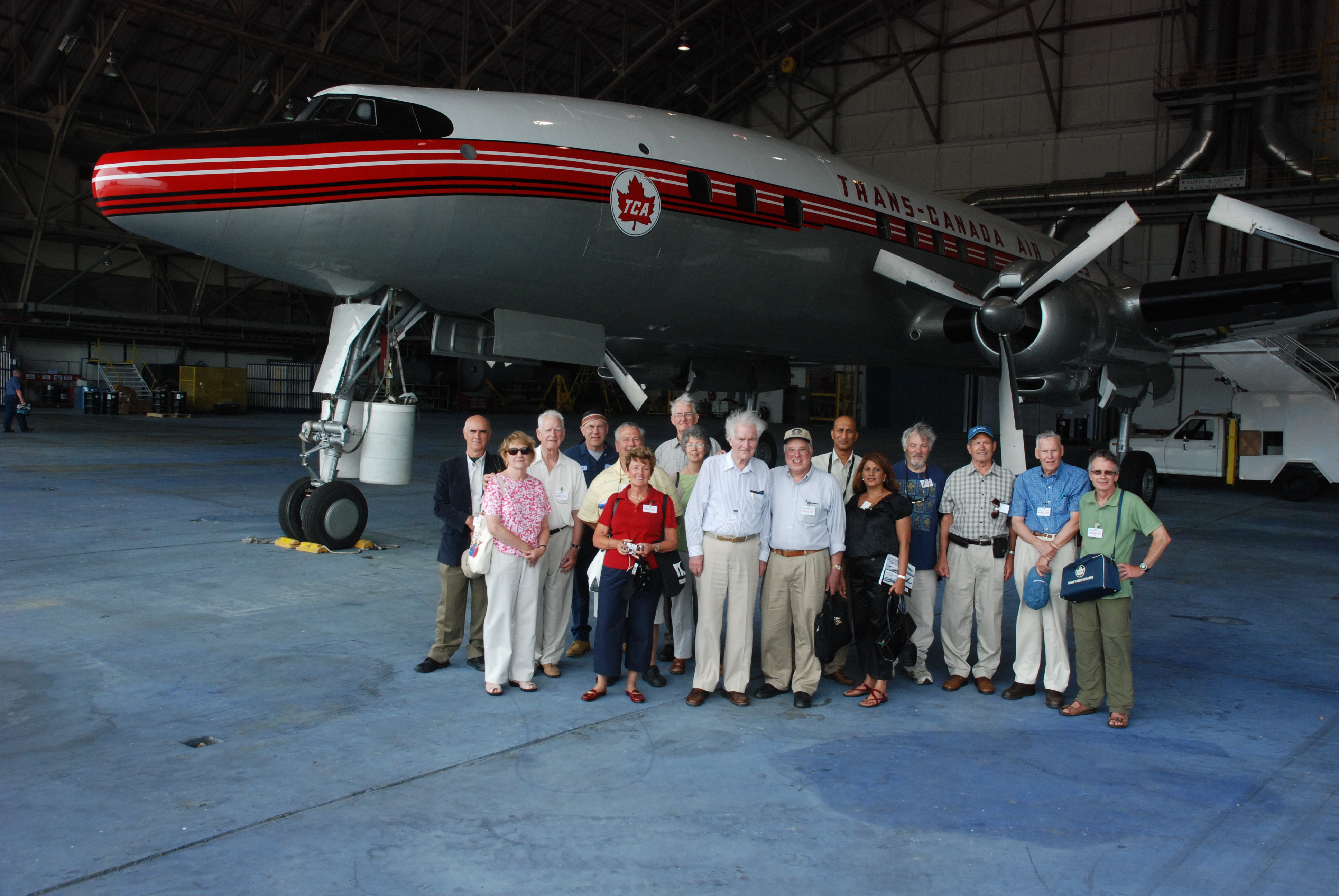 The Bogash-Lacey tour group with CF-TGE: Larry Milberry, Shirley & Don Cameron, Kevin Lacey, Jim & Lorna Dawes, Homer & Mary Lou Campbell, Paddy Szrajer, Bob Bogash, Jack & Lila Deonaraine, Clint Ward, Jay Fancott, Dave Robertson and Ron Rhodes. (Ken Swartz)