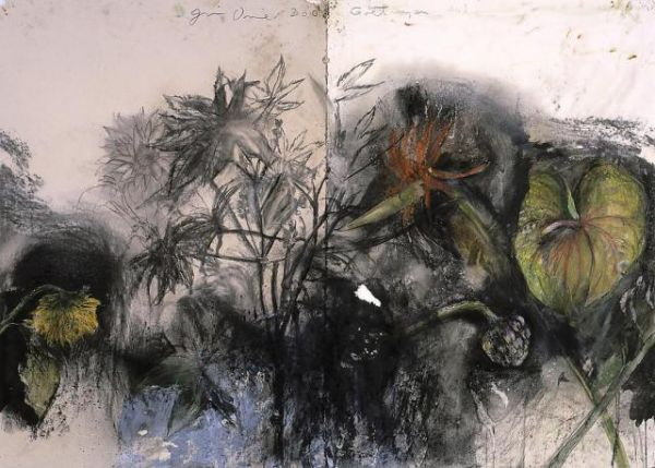 Jim Dine Göngen No. 1, 2003 Charcoal, pastel and acrylic on collaged paper 39 1/4 x 55 in