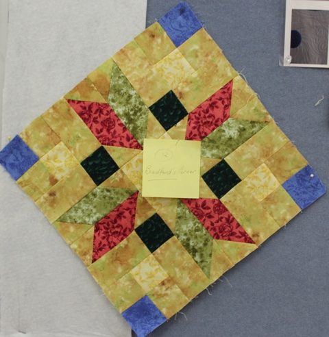 Jenny finished the last block in her quilt - she uses Post-it notes to track the names of the blocks