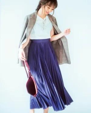 パープルをスカートで♡ドラマティックな印象で私らしく