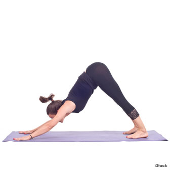"""Tuck the toes under and lift the tailbone towards the sky. Drop the head down and push into the hands to create length in the spine. Draw your navel in towards your spine and press the soles of the feet down towards the ground. Take 5 rounds of deep breath in this pose, closing the eyes if you have your balance."""
