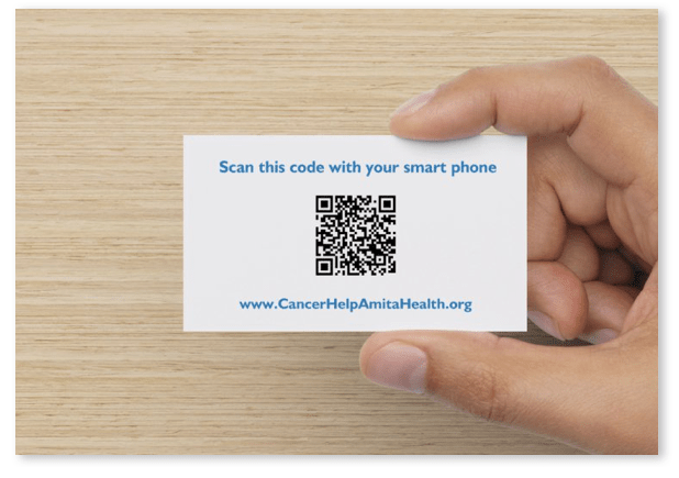 Qr codes cancerhelp online mobile friendly cancer patient amita health cancer institute business card for cancerhelp online showing the qr code on the back for quick smartphone and tablet access to their website reheart Images