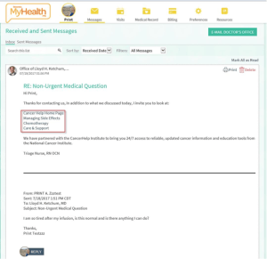 Screen shot of email reponse to patient through EPIC