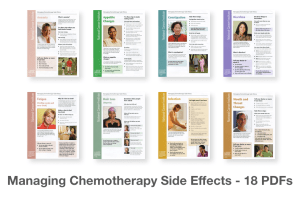 Managing Chemotherapy Side Effects Fact Sheets image showing 8 fact sheet covers