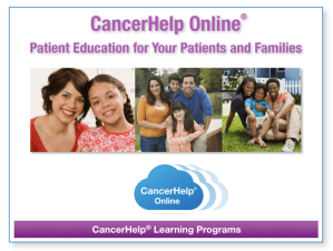 Opening Screen CancerHelp Online Presentation