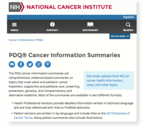 Screen shot from the NCI about Cancer Informtion Summaries