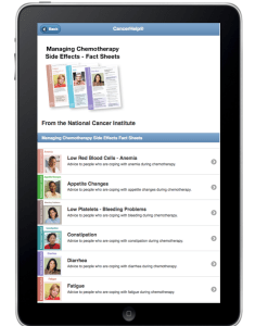 Smartphone showing list of Chemotherapy Facts Sheets from CancerHelp Online