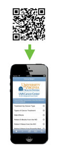 QR code shows how you can scan and go to UVA website