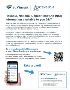 CancerHelp Online Poster with St. Vincent Cancer Care Logo and QR Code