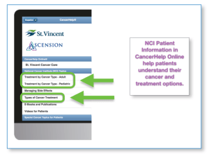 Screen shot of St Vincent CancerHelp Online with NCI choices circled