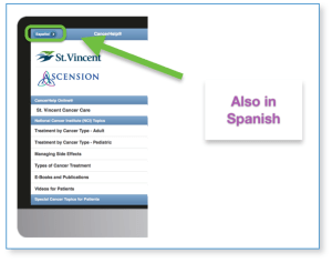 St. Vincent Indianapolic CancerHelp Home Page showing Spanish Access