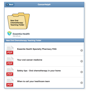 Screen shot of Essentia Health's teaching forders with their custom chemo content