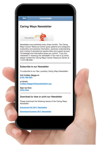 Hand holding iPhone showing the top of Essentia Health's Newsletter webpage in CancerHelp Online